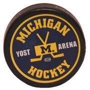Hockey Puck Navy Michigan