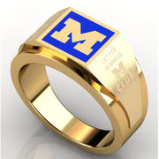 Women's 10k Gold Square Michigan Ring