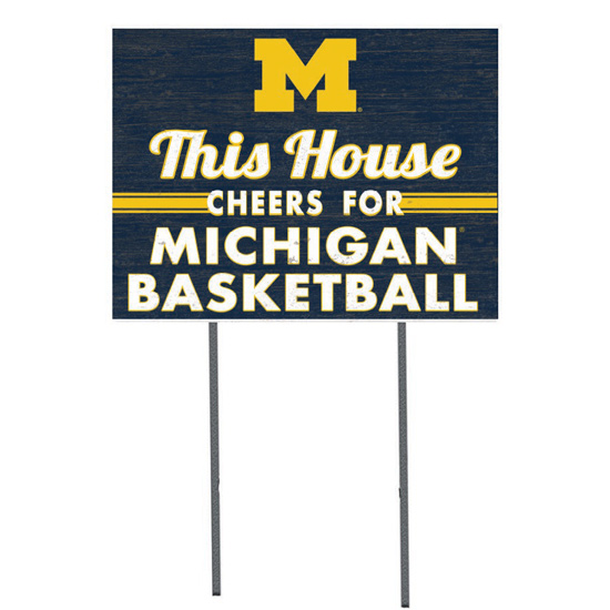 KH Sports Fan University of Michigan Basketball ''This House Cheers'' Yard Sign