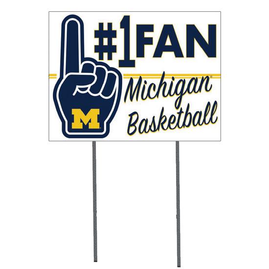 KH Sports Fan University of Michigan Basketball #1 Fan Yard Sign