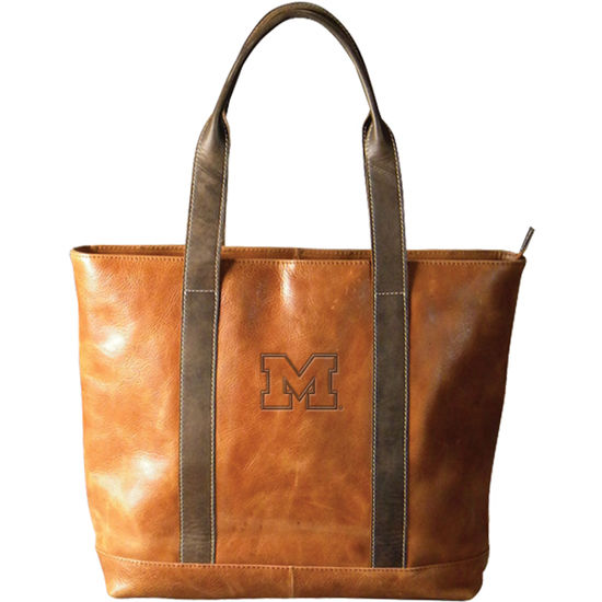 Carolina Sewn University of Michigan Two-Tone Leather Tote Bag