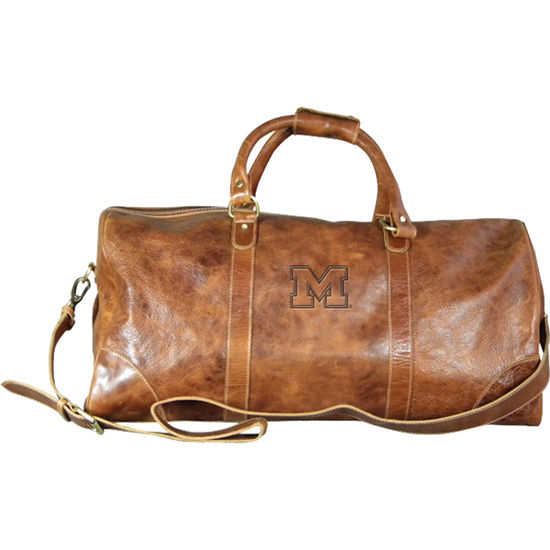 Carolina Sewn University of Michigan Large Leather Duffel Bag