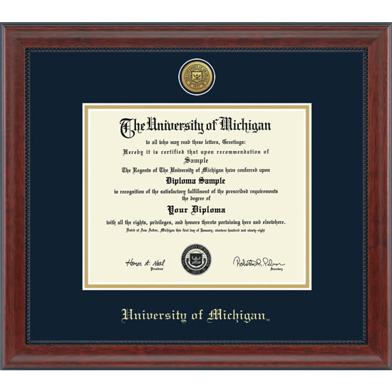 university of michigan diploma frame engraved signature phd - Dual Diploma Frame