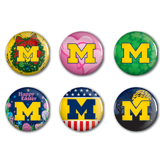 WinCraft University of Michigan Holiday Button Set