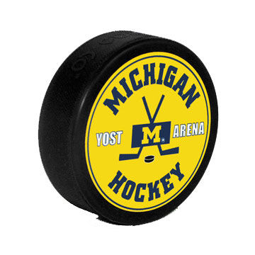 Hockey Puck Yellow Michigan