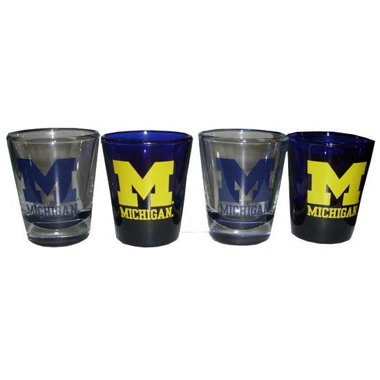 RFSJ University of Michigan 4 Pack Shot Glass Boxed Set