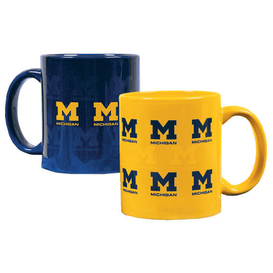 RFSJ University of Michigan Set of 2 Scattered M Navy & Yellow Coffee Mugs