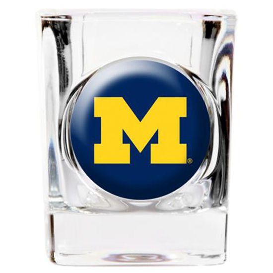 Great American Products University of Michigan Square Shot Glass with Emblem