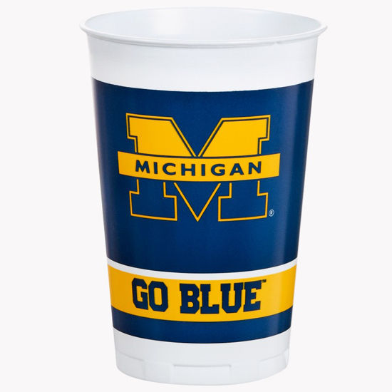 Set of 8 20oz Plastic University of Michigan Cups - Split M