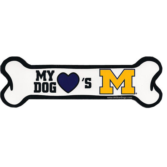 All Star Dogs University of Michigan My Dog Loves Michigan Bone Magnet