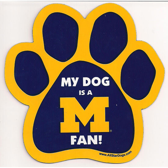 All Star Dogs University of Michigan My Dog is a Michigan Fan! Paw Magnet