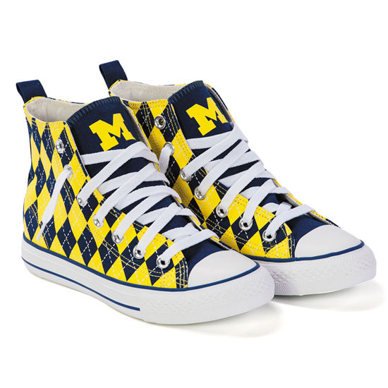 Skicks University of Michigan WOMEN'S Argyle High-Top Sneakers