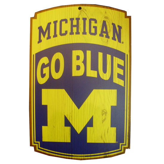 Michigan Wolverines Go Blue 11x17 Wood Sign