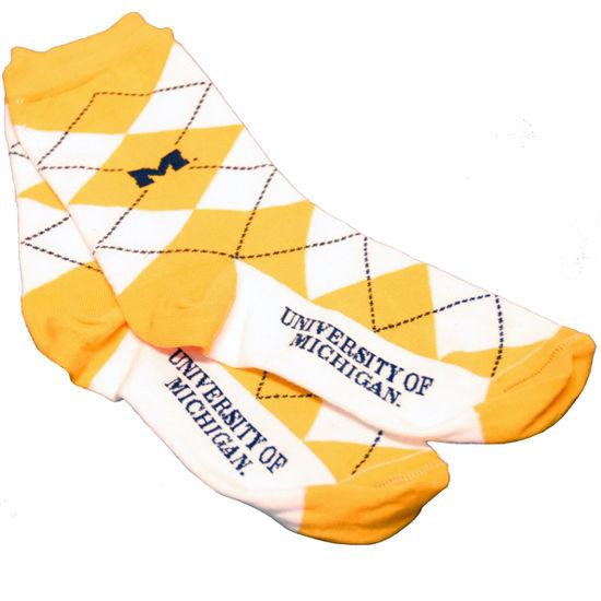 Top Sox University of Michigan Yellow & White Argyle Sock