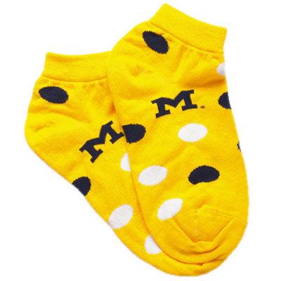 Yellow Michigan Polka Dot Socks