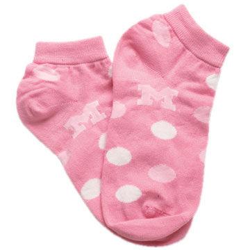 Pink Michigan Polka Dot Socks