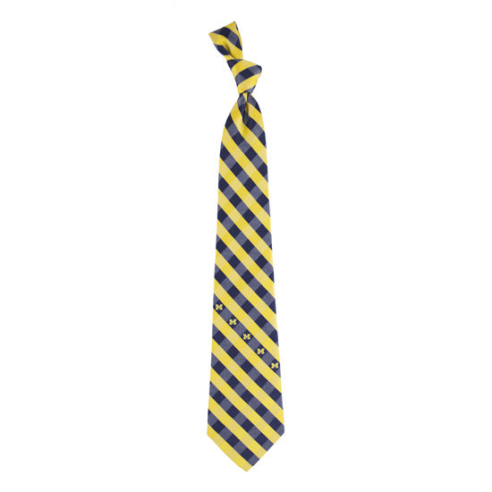 Eagles Wings University of Michigan Woven Poly Check Neck Tie