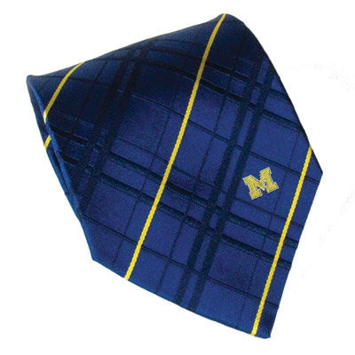 Eagles Wings University of Michigan Navy Woven Oxford Tie with Small M
