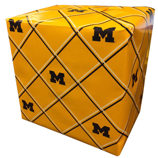 MCM University of Michigan Yellow Plaid Block M Wrapping Paper