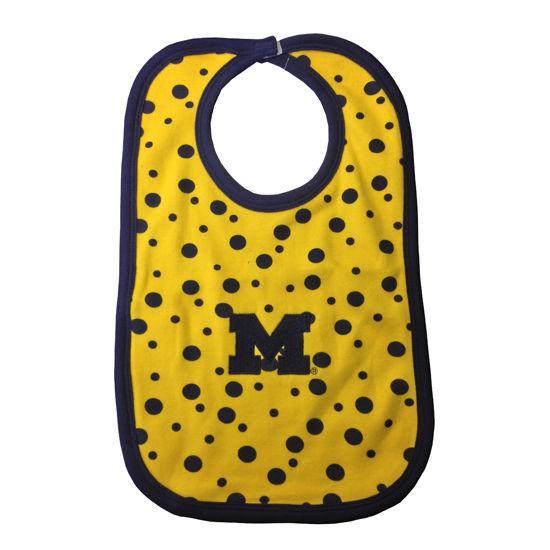Two Feet Ahead University of Michigan Polka Dot Baby Bib