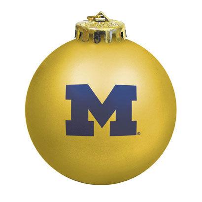MCM University of Michigan Gold Yellow Block M Shatterproof Ornament