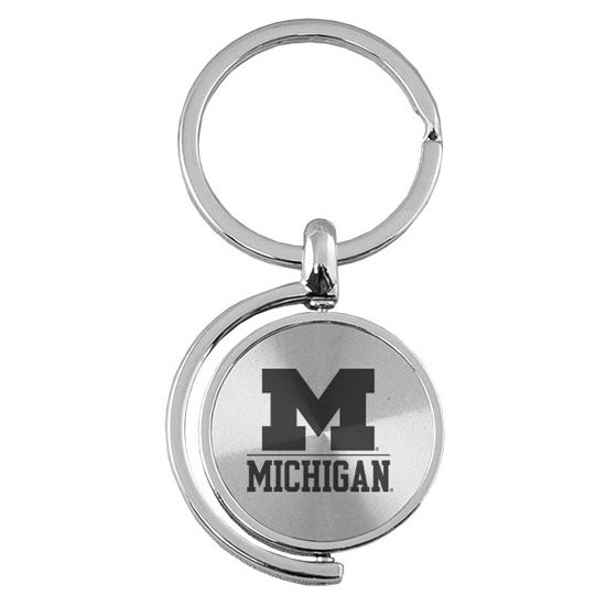 LXG University of Michigan Silver Spinner Keychain