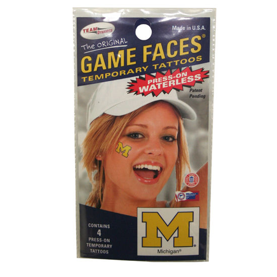 Game Faces University of Michigan Temporary Tattoos