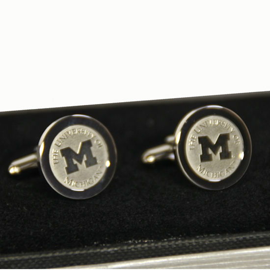 CSI University of Michigan Silver Block M Cuff Links