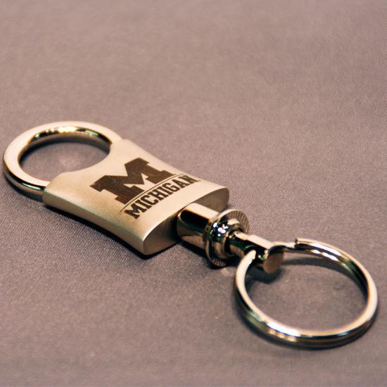 LXG University of Michigan Nickel Valet Key Chain