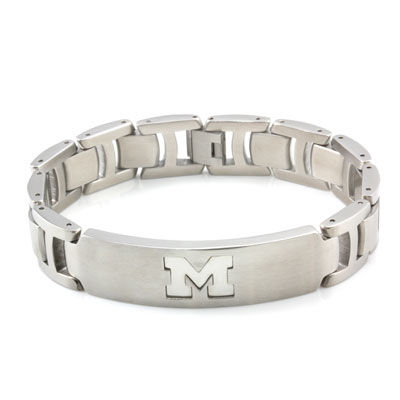 CNote University of Michigan Stainless Steel Engraved M Bracelet