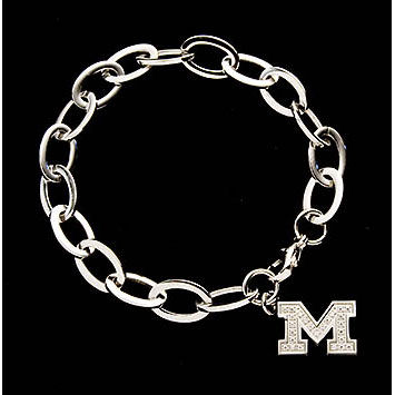 CNote University of Michigan Stainless Steel CZ Block M Bracelet