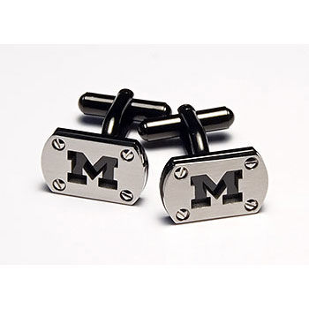 CNote University of Michigan Stainless Steel and Black Ionic Plated Cufflinks