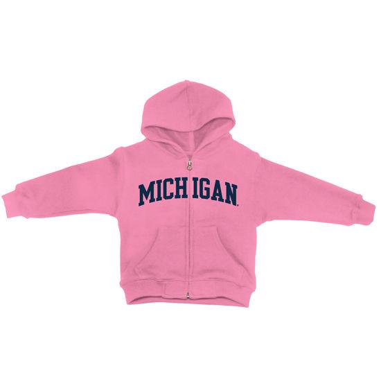 University of Michigan Toddler Pink Full Zip Hooded Sweatshirt