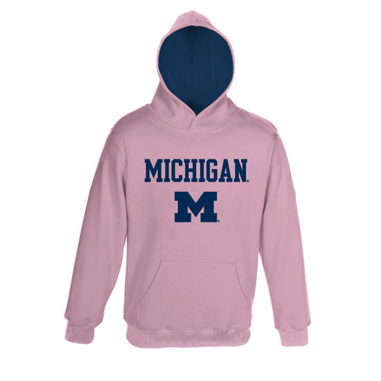 Outerstuff University of Michigan Youth Pink Pullover Hooded Sweatshirt
