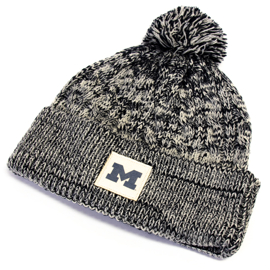 sale retailer ce52a 3bd6e Ahead University of Michigan Women s Navy  Ivory Cuffed Knit Hat with Pom.  Product Thumbnail