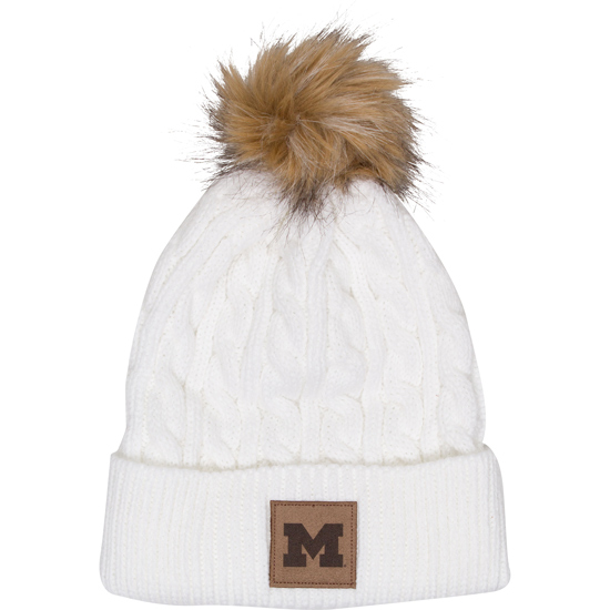 Ahead University of Michigan Women's White Cable Knit Cuffed Knit Hat