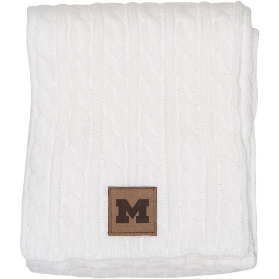 Ahead University of Michigan Women's White Cable Knit Scarf