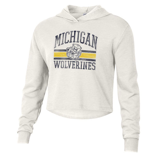 Alternative Apparel University of Michigan Women's Ivory White College Vault Wolverine French Terry Cropped Hooded Sweatshirt