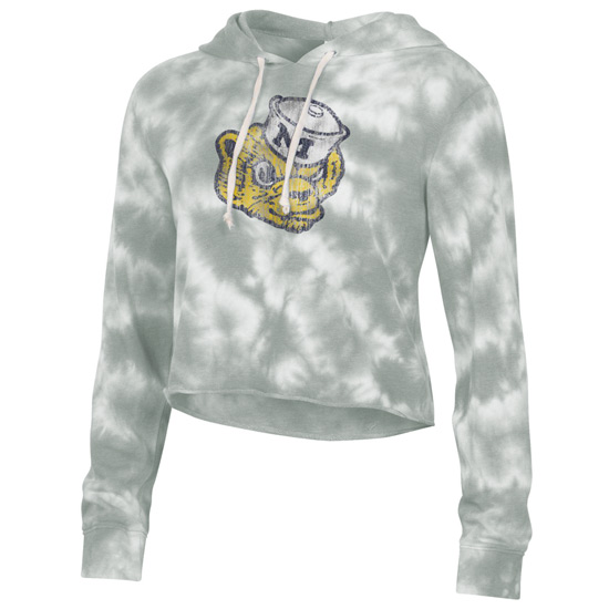 Alternative Apparel University of Michigan Women's Gray College Vault Tie-Dye Raw Edge Cropped Hooded Sweatshirt