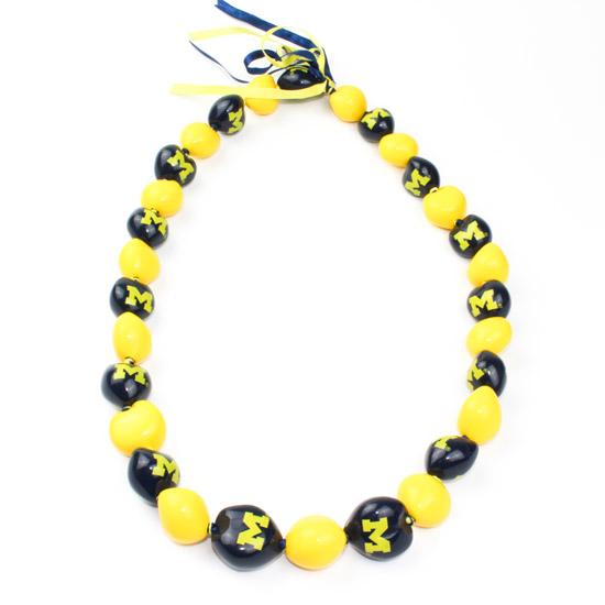 Aminco University of Michigan Kukui Nut Necklace