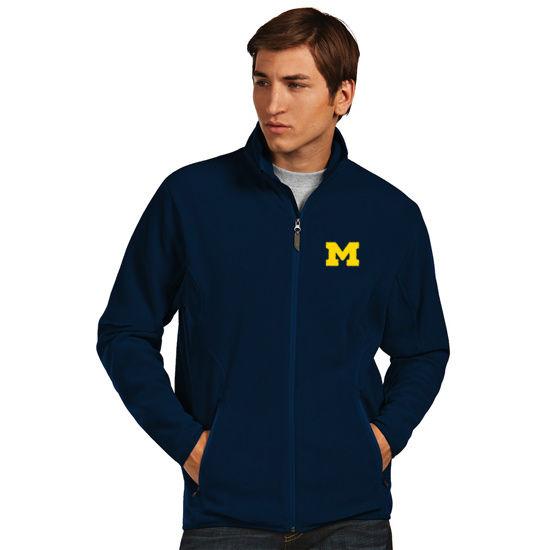 Antigua University of Michigan Navy Ice Polar Full Zip Fleece Jacket