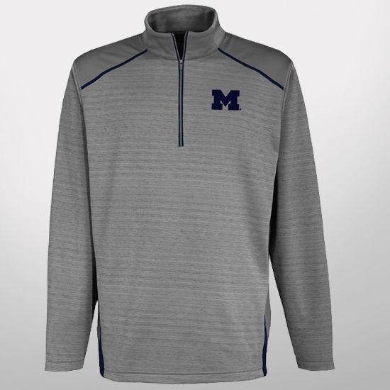 Antigua University of Michigan Gray Haze 1/4 Zip Pullover