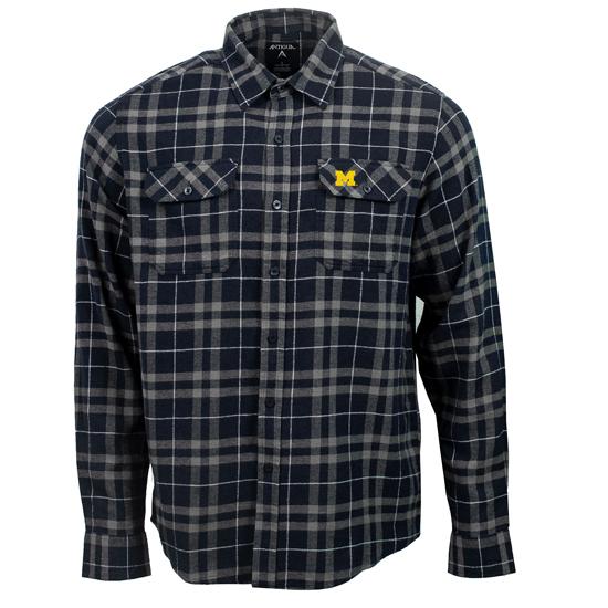 Antigua University of Michigan Navy/Gray ''Stance'' Long Sleeve Plaid Button Down Shirt