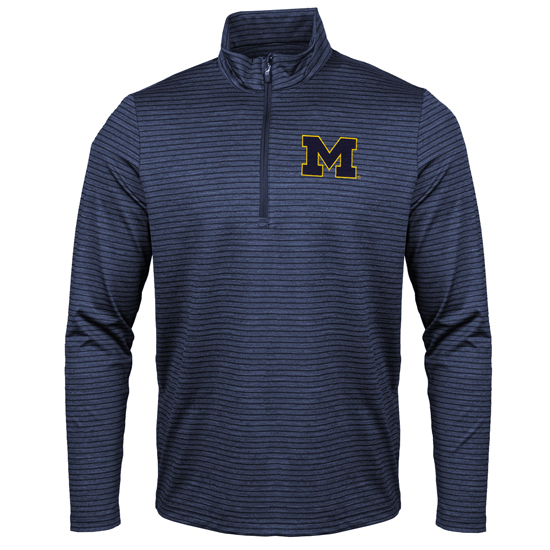 Antigua University of Michigan Heather Navy Capacity Tonal Striped 1/2 Zip Pullover