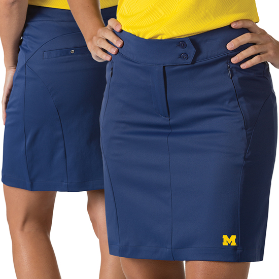 Antigua University of Michigan Women's Navy Sway Performance Golf Skort