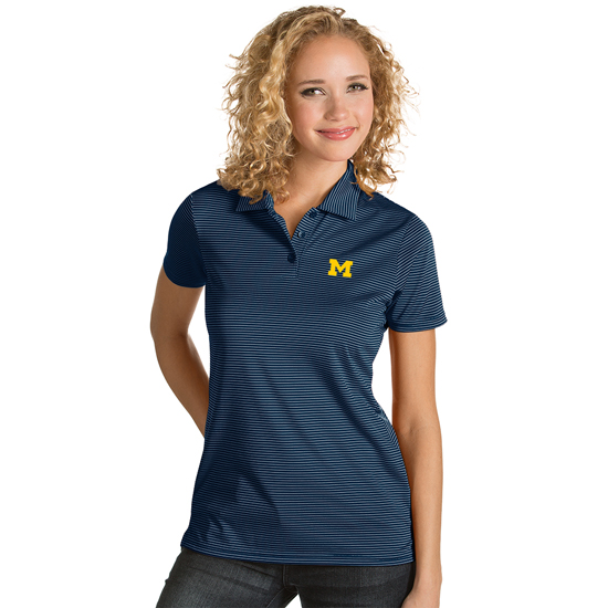 Antigua University of Michigan Women's Navy with White Stripes ''Quest'' Polo