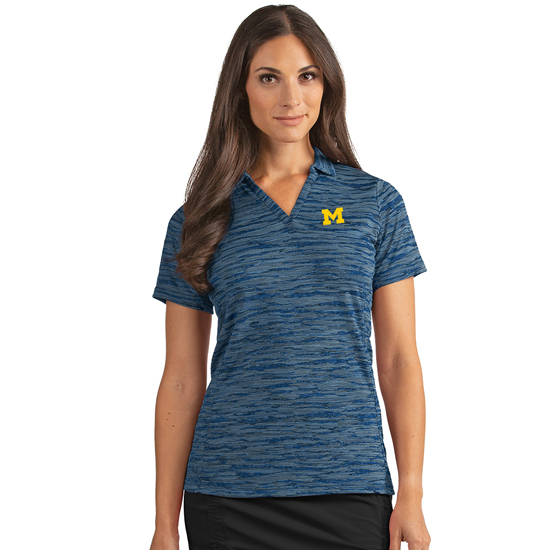 Antigua University of Michigan Women's Heather Navy Pixel V-Neck Polo Shirt