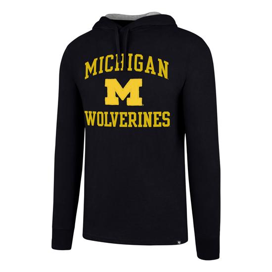 '47 Brand University of Michigan Navy Downfield Long Sleeve Hooded Tee