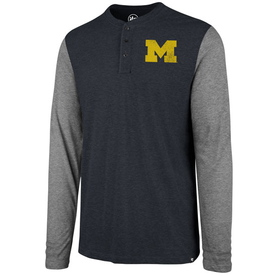 '47 Brand University of Michigan Heather Navy/ Gray Long Sleeve Triblend Henley Tee