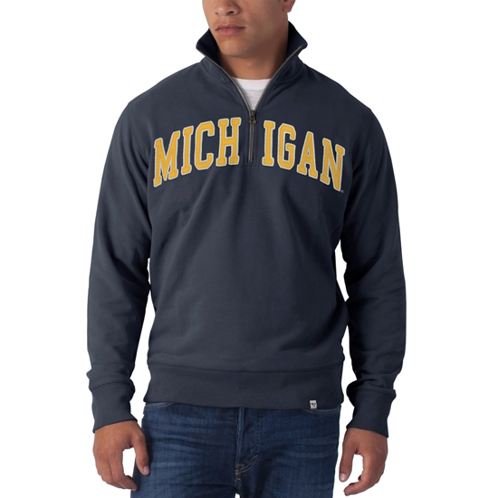 '47 Brand University of Michigan Navy 1/4 Zip Sweatshirt